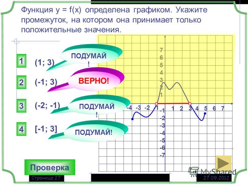 27.09.2012Страница 27 Функция у = f(x) определена графиком. Укажите промежуток, на котором она принимает только положительные значения. Проверка 1 2 3 4 5 6 7 -7 -6 -5 -4 -3 -2 -1 76543217654321 -2 -3 -4 -5 -6 -7 (-1; 3) 2 1 3 4 ПОДУМАЙ! ВЕРНО! ПОДУМ