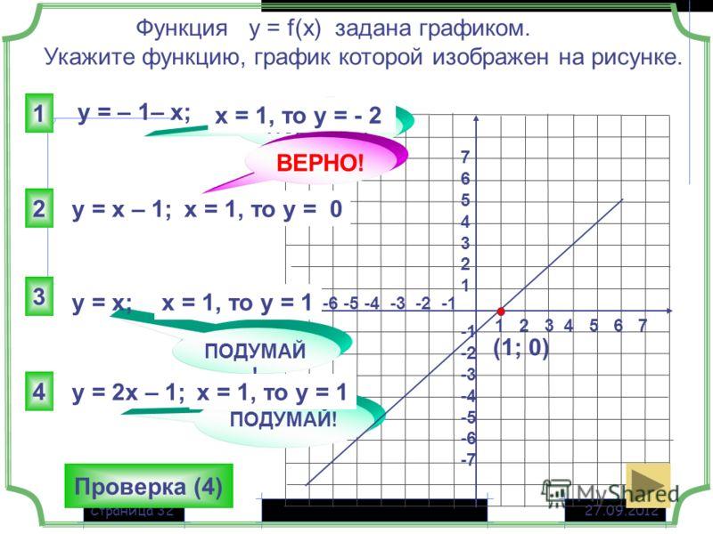 27.09.2012Страница 32 1 2 3 4 5 6 7 -7 -6 -5 -4 -3 -2 -1 76543217654321 -2 -3 -4 -5 -6 -7 y = – 1– x; 2 1 3 4 ПОДУМАЙ ! Функция у = f(x) задана графиком. Укажите функцию, график которой изображен на рисунке. ПОДУМАЙ ! x = 1, то у = - 2 x = 1, то у =