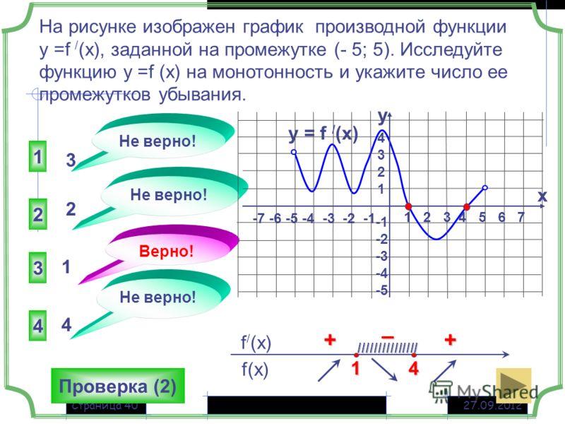 27.09.2012Страница 40 На рисунке изображен график производной функции у =f / (x), заданной на промежутке (- 5; 5). Исследуйте функцию у =f (x) на монотонность и укажите число ее промежутков убывания. 3 2 4 1 Не верно! Верно! Не верно! 3 2 1 4 Проверк