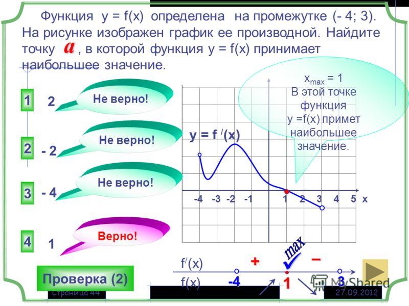 27.09.2012Страница 44 y = f / (x) 1 2 3 4 5 х -4 -3 -2 -1 4 3 1 2 Не верно! 2 - 2 - 4 1 f(x) f / (x) Функция у = f(x) определена на промежутке (- 4; 3). На рисунке изображен график ее производной. Найдите точку, в которой функция у = f(x) принимает н