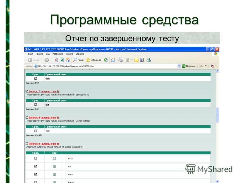 Программные средства Отчет по завершенному тесту