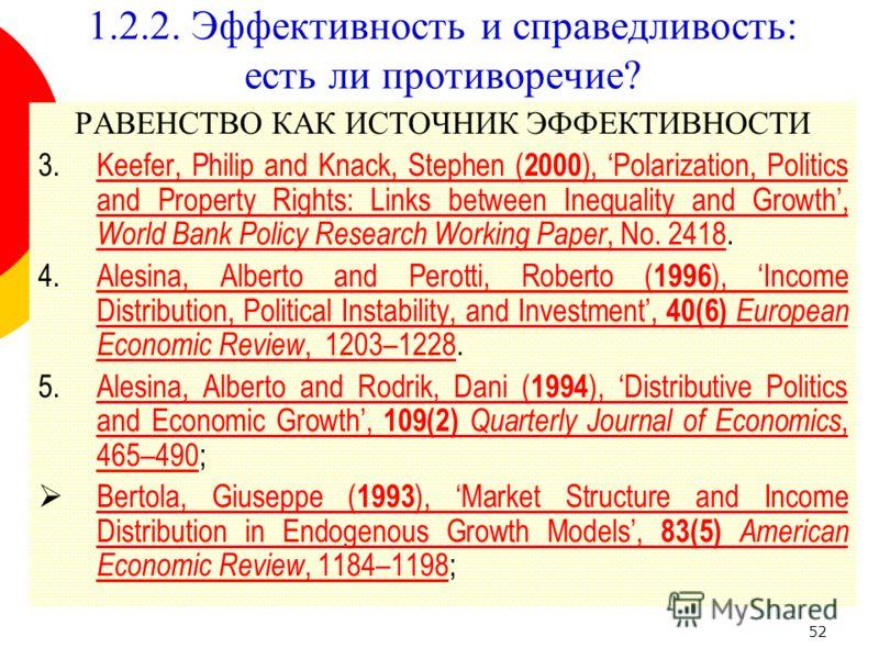 52 1.2.2. Эффективность и справедливость: есть ли противоречие? РАВЕНСТВО КАК ИСТОЧНИК ЭФФЕКТИВНОСТИ 3.Keefer, Philip and Knack, Stephen ( 2000 ), Polarization, Politics and Property Rights: Links between Inequality and Growth, World Bank Policy Rese