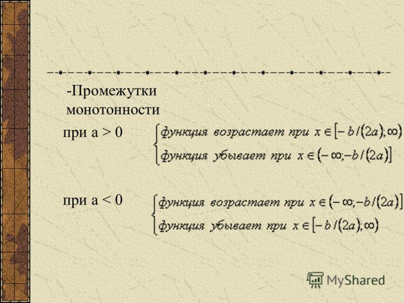 - Четность, нечетность: при b= 0 функция четная при b0 функция не является ни четной, ни нечетной. - Нули: при а < 0 (-; -D/(4a)]; при D > 0 два нуля: при D = 0 один нуль: при D < 0 нулей нет