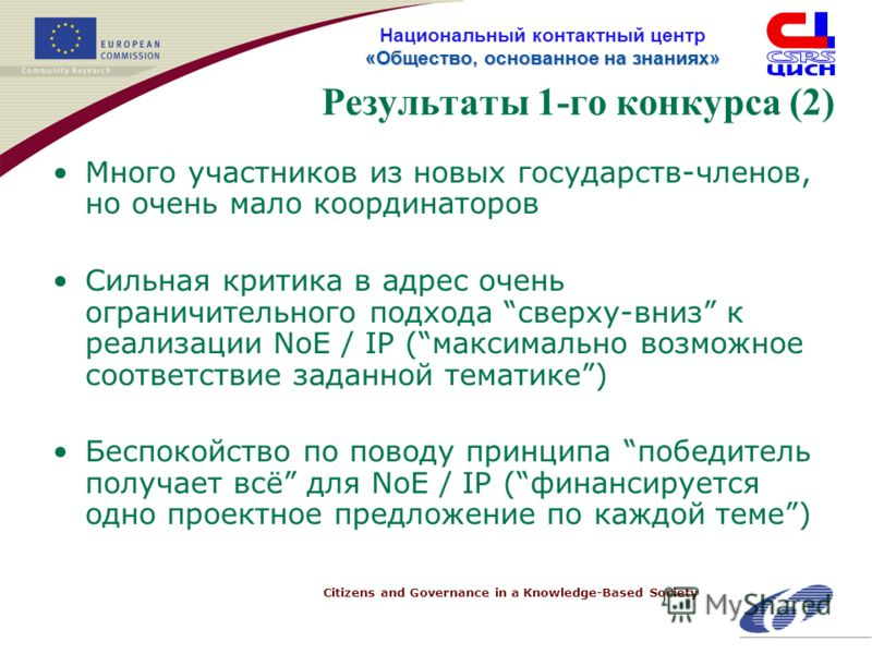 Citizens and Governance in a Knowledge-Based Society «Общество, основанное на знанияx» Национальный контактный центр «Общество, основанное на знанияx» Результаты 1-го конкурса (2) Много участников из новых государств-членов, но очень мало координатор