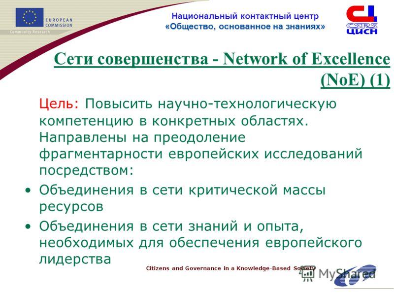 Citizens and Governance in a Knowledge-Based Society «Общество, основанное на знанияx» Национальный контактный центр «Общество, основанное на знанияx» Сети совершенства - Network of Excellence (NoE) (1) Цель: Повысить научно-технологическую компетенц