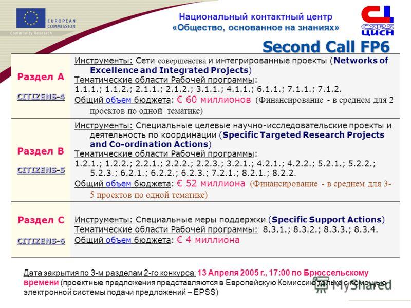 Citizens and Governance in a Knowledge-Based Society «Общество, основанное на знанияx» Национальный контактный центр «Общество, основанное на знанияx» Second Call FP6 Раздел А CITIZENS-4 Инструменты: Сети совершенства и интегрированные проекты (Netwo
