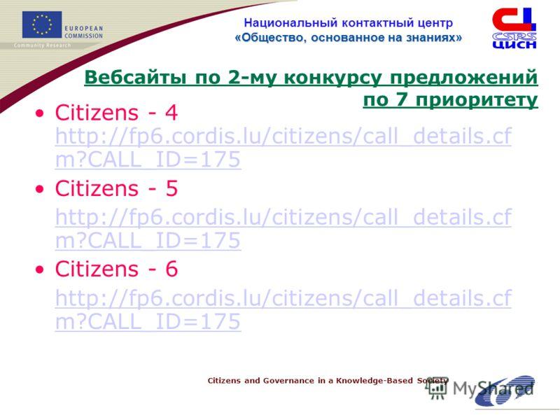 Citizens and Governance in a Knowledge-Based Society «Общество, основанное на знанияx» Национальный контактный центр «Общество, основанное на знанияx» Вебсайты по 2-му конкурсу предложений по 7 приоритету Citizens - 4 http://fp6.cordis.lu/citizens/ca