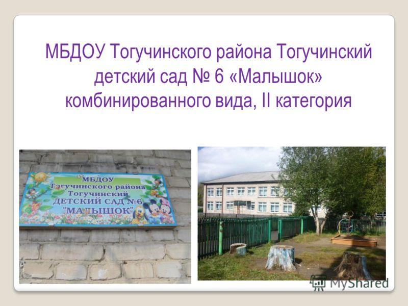 МБДОУ Тогучинского района Тогучинский детский сад 6 «Малышок» комбинированного вида, II категория