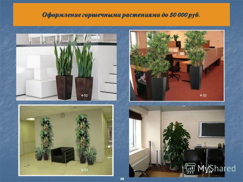 Оформление горшечными растениями до 50 000 руб. 4-514-52 4-53 4-54 20