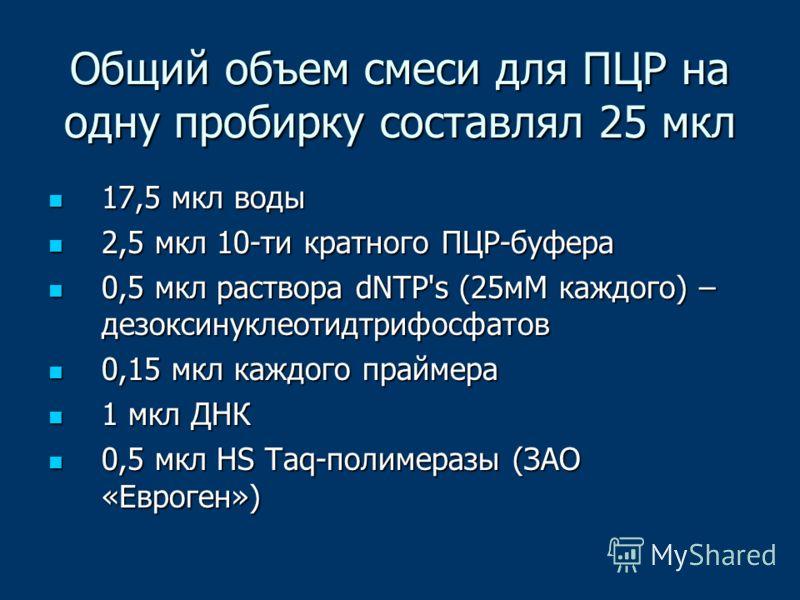Общий объем смеси для ПЦР на одну пробирку составлял 25 мкл 17,5 мкл воды 17,5 мкл воды 2,5 мкл 10-ти кратного ПЦР-буфера 2,5 мкл 10-ти кратного ПЦР-буфера 0,5 мкл раствора dNTP's (25мМ каждого) – дезоксинуклеотидтрифосфатов 0,5 мкл раствора dNTP's (