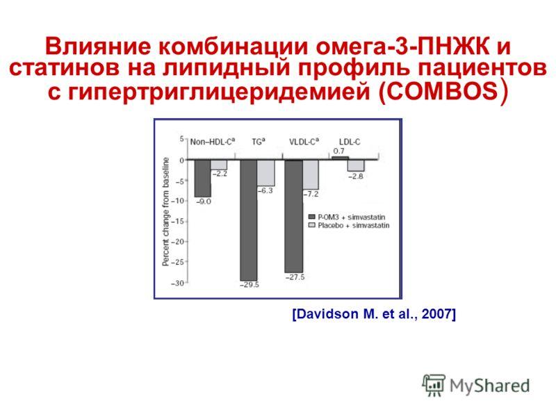 Влияние комбинации омега-3-ПНЖК и статинов на липидный профиль пациентов с гипертриглицеридемией (COMBOS ) [Davidson M. et al., 2007]