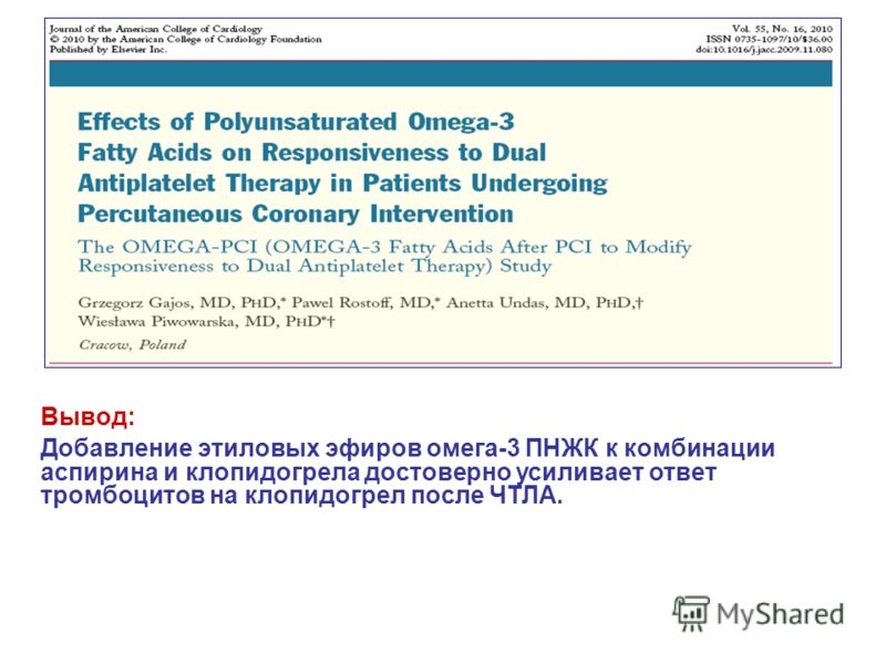 Вывод: Добавление этиловых эфиров омега-3 ПНЖК к комбинации аспирина и клопидогрела достоверно усиливает ответ тромбоцитов на клопидогрел после ЧТЛА.