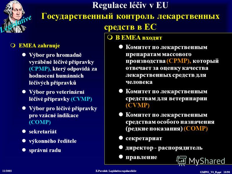Legislative 11/2002 Z.Pavelek: Legislativa regulace léčiv GMP01_V4_R.ppt 10/90 Regulace léčiv v EU Государственный контроль лекарственных средств в ЕС EMEA zahrnuje Výbor pro hromadně vyráběné léčivé přípravky (CPMP), který odpovídá za hodnocení humá