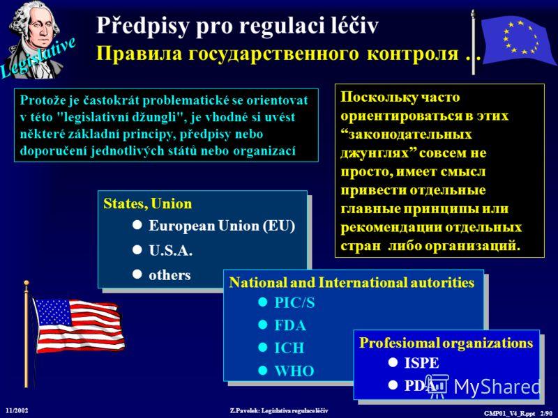 Legislative Z.Pavelek: Legislativa regulace léčiv GMP01_V4_R.ppt 2/90 Předpisy pro regulaci léčiv Правила государственного контроля... States, Union European Union (EU) U.S.A. others States, Union European Union (EU) U.S.A. others National and Intern