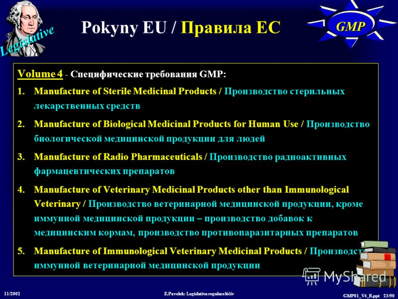 Legislative 11/2002 Z.Pavelek: Legislativa regulace léčiv GMP01_V4_R.ppt 23/90 Volume 4 - Специфические требования GMP: 1.Manufacture of Sterile Medicinal Products / Производство стерильных лекарственных средств 2.Manufacture of Biological Medicinal