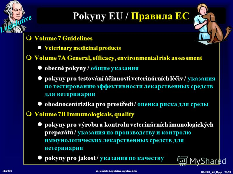 Legislative 11/2002 Z.Pavelek: Legislativa regulace léčiv GMP01_V4_R.ppt 29/90 Volume 7 Guidelines Veterinary medicinal products Volume 7A General, efficacy, environmental risk assessment obecné pokyny / общие указания pokyny pro testování účinnosti