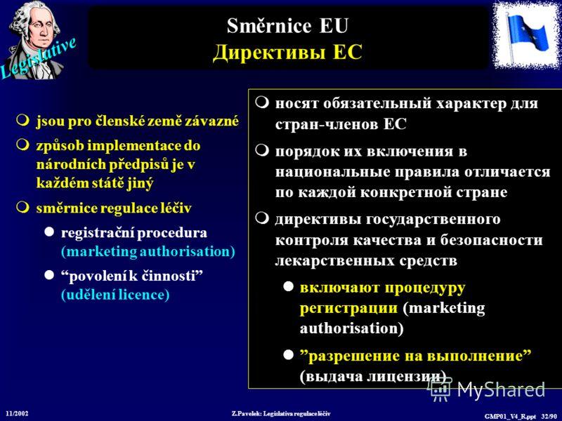 Legislative 11/2002 Z.Pavelek: Legislativa regulace léčiv GMP01_V4_R.ppt 32/90 Směrnice EU Директивы ЕС jsou pro členské země závazné způsob implementace do národních předpisů je v každém státě jiný směrnice regulace léčiv registrační procedura (mark