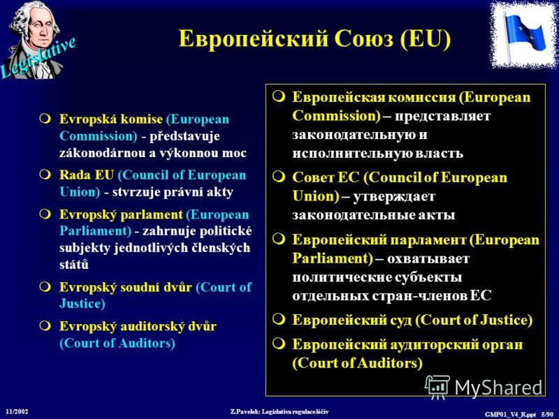 Legislative 11/2002 Z.Pavelek: Legislativa regulace léčiv GMP01_V4_R.ppt 5/90 Европейский Союз (EU) Evropská komise (European Commission) - představuje zákonodárnou a výkonnou moc Rada EU (Council of European Union) - stvrzuje právní akty Evropský pa