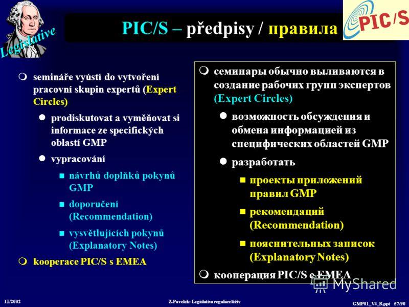 Legislative 11/2002 Z.Pavelek: Legislativa regulace léčiv GMP01_V4_R.ppt 57/90 PIC/S – předpisy / правила semináře vyústí do vytvoření pracovní skupin expertů (Expert Circles) prodiskutovat a vyměňovat si informace ze specifických oblastí GMP vypraco