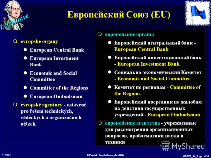 Legislative 11/2002 Z.Pavelek: Legislativa regulace léčiv GMP01_V4_R.ppt 6/90 Европейский Союз (EU) evropské orgány European Central Bank European Investment Bank Economic and Social Committee Committee of the Regions European Ombudsman evropské agen