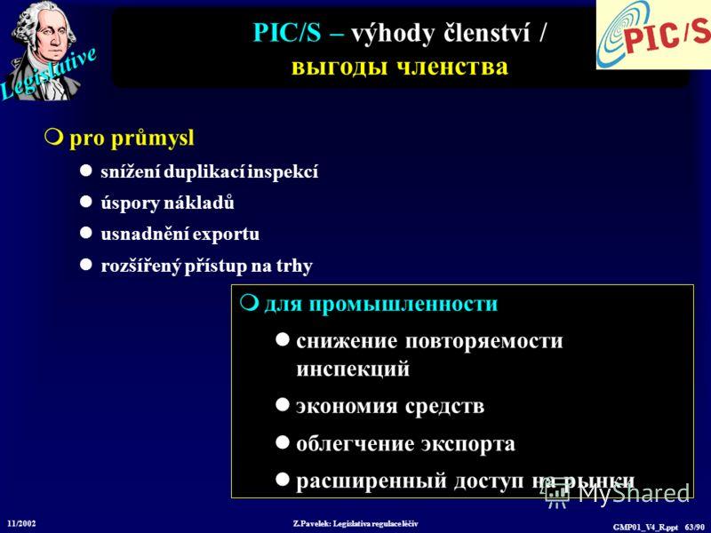 Legislative 11/2002 Z.Pavelek: Legislativa regulace léčiv GMP01_V4_R.ppt 63/90 PIC/S – výhody členství / выгоды членства pro průmysl snížení duplikací inspekcí úspory nákladů usnadnění exportu rozšířený přístup na trhy для промышленности снижение пов