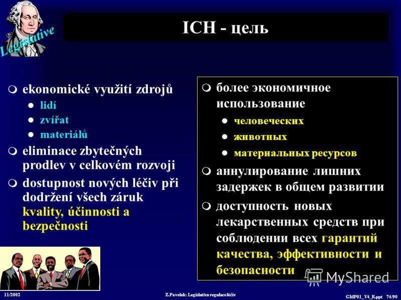 Legislative 11/2002 Z.Pavelek: Legislativa regulace léčiv GMP01_V4_R.ppt 74/90 ICH - цель более экономичное использование человеческих животных материальных ресурсов аннулирование лишних задержек в общем развитии доступность новых лекарственных средс