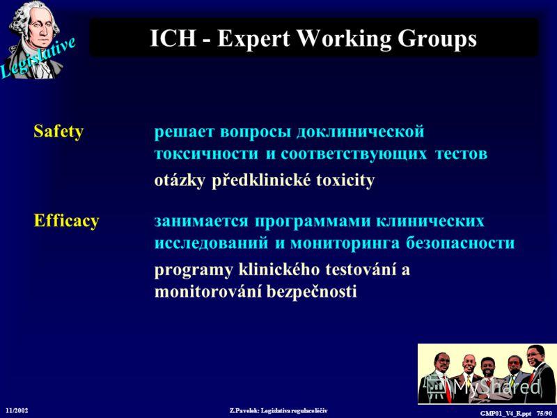 Legislative 11/2002 Z.Pavelek: Legislativa regulace léčiv GMP01_V4_R.ppt 75/90 ICH - Expert Working Groups Safety решает вопросы доклинической токсичности и соответствующих тестов otázky předklinické toxicity Efficacy занимается программами клиническ