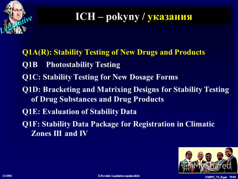 Legislative 11/2002 Z.Pavelek: Legislativa regulace léčiv GMP01_V4_R.ppt 79/90 ICH – pokyny / у казания Q1A(R): Stability Testing of New Drugs and Products Q1B Photostability Testing Q1C: Stability Testing for New Dosage Forms Q1D: Bracketing and Mat