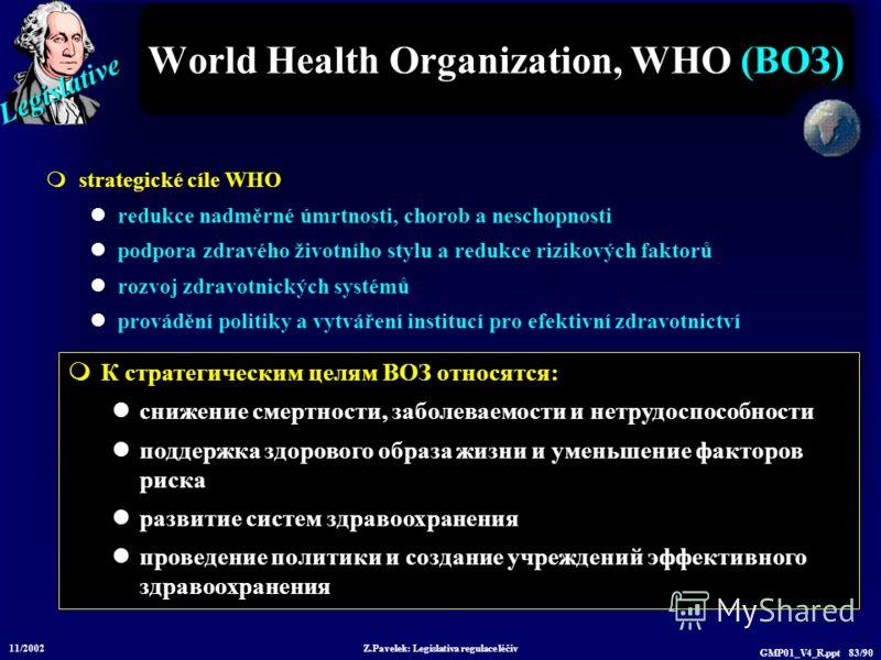 Legislative 11/2002 Z.Pavelek: Legislativa regulace léčiv GMP01_V4_R.ppt 83/90 World Health Organization, WHO (ВОЗ) strategické cíle WHO redukce nadměrné úmrtnosti, chorob a neschopnosti podpora zdravého životního stylu a redukce rizikových faktorů r