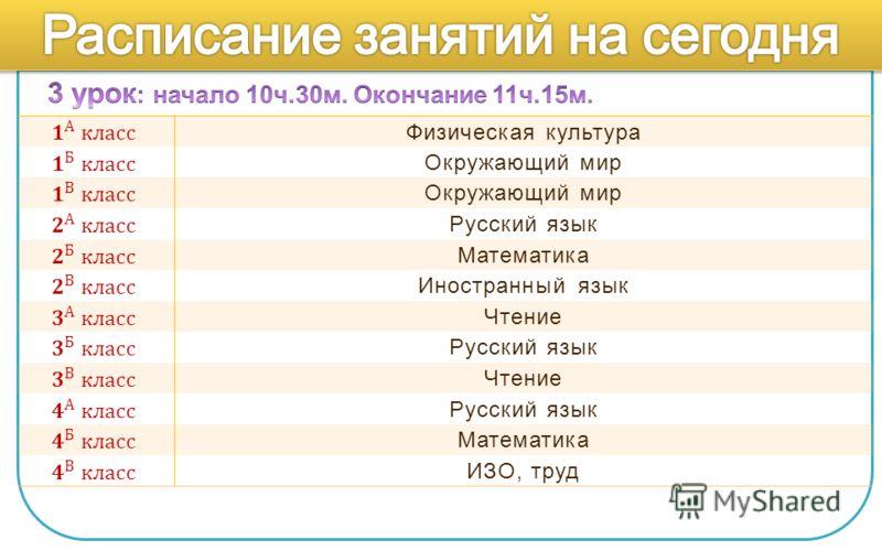 Физическая культура Окружающий мир Русский язык Математика Иностранный язык Чтение Русский язык Чтение Русский язык Математика ИЗО, труд