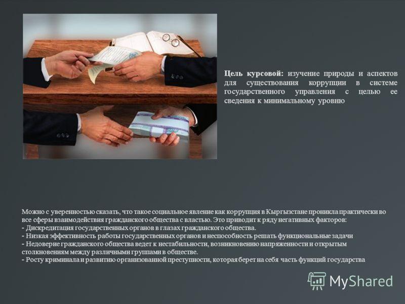 Можно с уверенностью сказать, что такое социальное явление как коррупция в Кыргызстане проникла практически во все сферы взаимодействия гражданского общества с властью. Это приводит к ряду негативных факторов: - Дискредитация государственных органов