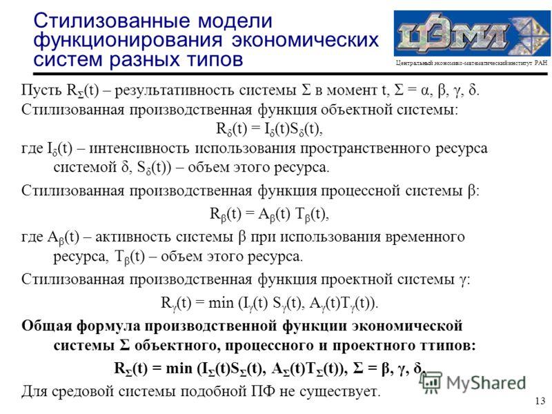 Центральный экономико-математический институт РАН 13 Стилизованные модели функционирования экономических систем разных типов Пусть R Σ (t) – результативность системы Σ в момент t, Σ = α, β, γ, δ. Стилизованная производственная функция объектной систе