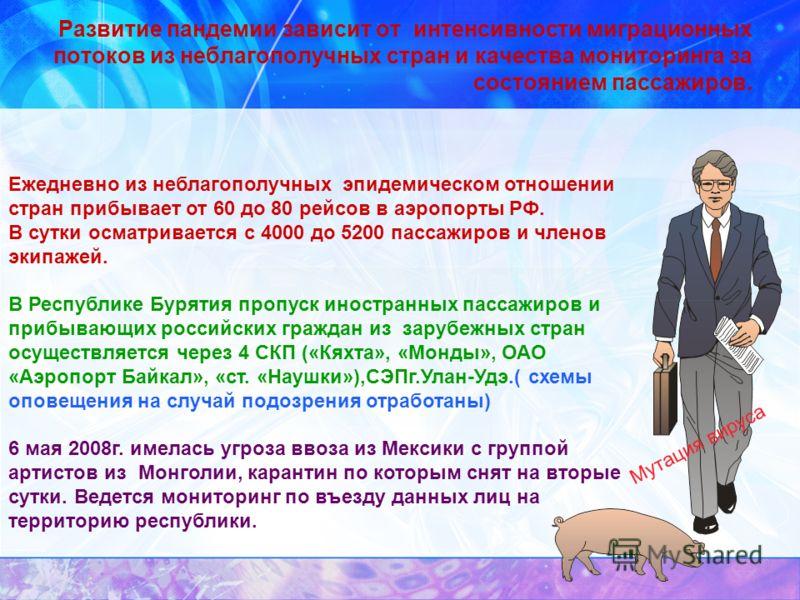 Развитие пандемии зависит от интенсивности миграционных потоков из неблагополучных стран и качества мониторинга за состоянием пассажиров. Ежедневно из неблагополучных эпидемическом отношении стран прибывает от 60 до 80 рейсов в аэропорты РФ. В сутки