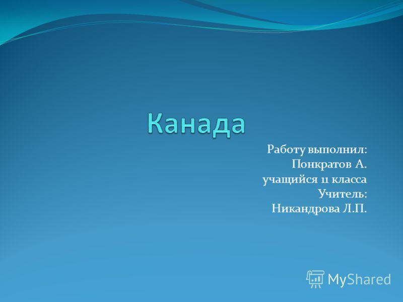 Работу выполнил: Понкратов А. учащийся 11 класса Учитель: Никандрова Л.П.