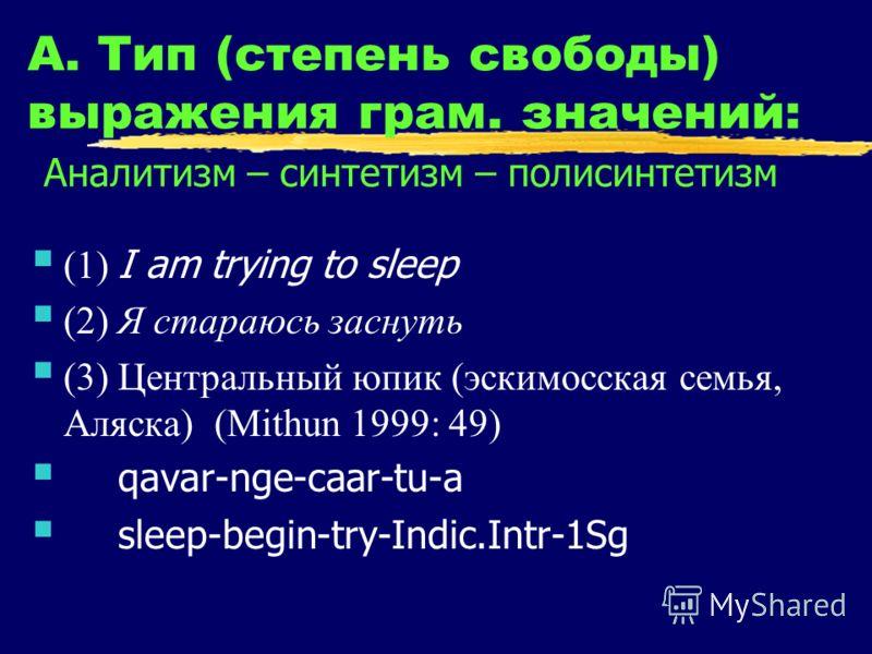 А. Тип (степень свободы) выражения грам. значений: Аналитизм – синтетизм – полисинтетизм (1) I am trying to sleep (2) Я стараюсь заснуть (3) Центральный юпик (эскимосская семья, Аляска) (Mithun 1999: 49) qavar-nge-caar-tu-a sleep-begin-try-Indic.Intr