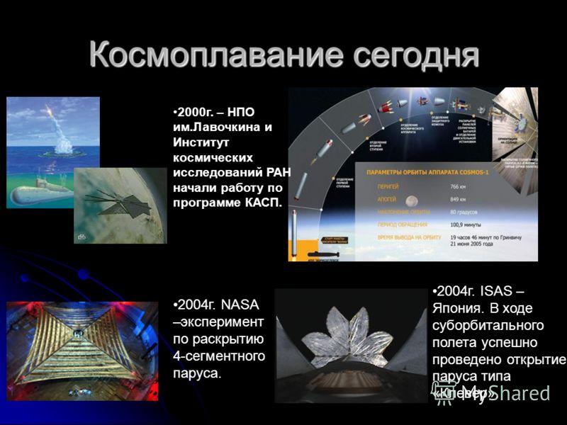 Космоплавание сегодня 2000г. – НПО им.Лавочкина и Институт космических исследований РАН начали работу по программе КАСП. 2004г. NASA –эксперимент по раскрытию 4-сегментного паруса. 2004г. ISAS – Япония. В ходе суборбитального полета успешно проведено