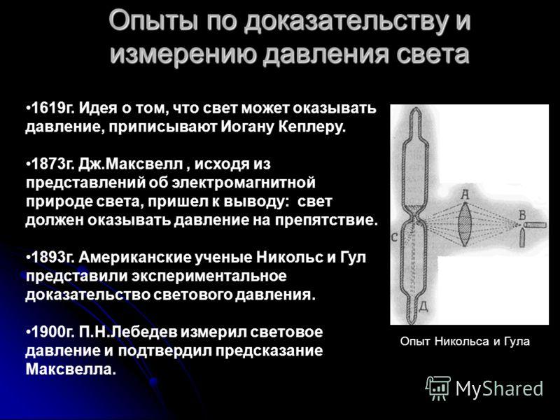 Опыты по доказательству и измерению давления света Опыт Никольса и Гула 1619г. Идея о том, что свет может оказывать давление, приписывают Иогану Кеплеру. 1873г. Дж.Максвелл, исходя из представлений об электромагнитной природе света, пришел к выводу: