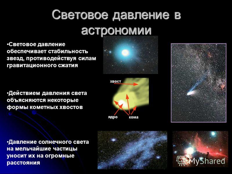 Световое давление в астрономии Световое давление обеспечивает стабильность звезд, противодействуя силам гравитационного сжатия Действием давления света объясняются некоторые формы кометных хвостов Давление солнечного света на мельчайшие частицы уноси