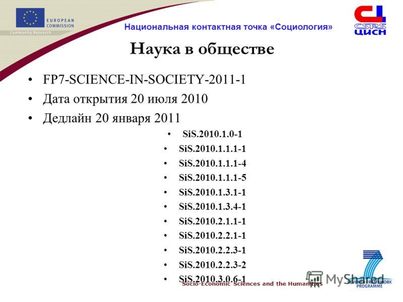 Socio-Economic Sciences and the Humanities Национальная контактная точка «Социология» Наука в обществе FP7-SCIENCE-IN-SOCIETY-2011-1 Дата открытия 20 июля 2010 Дедлайн 20 января 2011 SiS.2010.1.0-1 SiS.2010.1.1.1-1 SiS.2010.1.1.1-4 SiS.2010.1.1.1-5 S