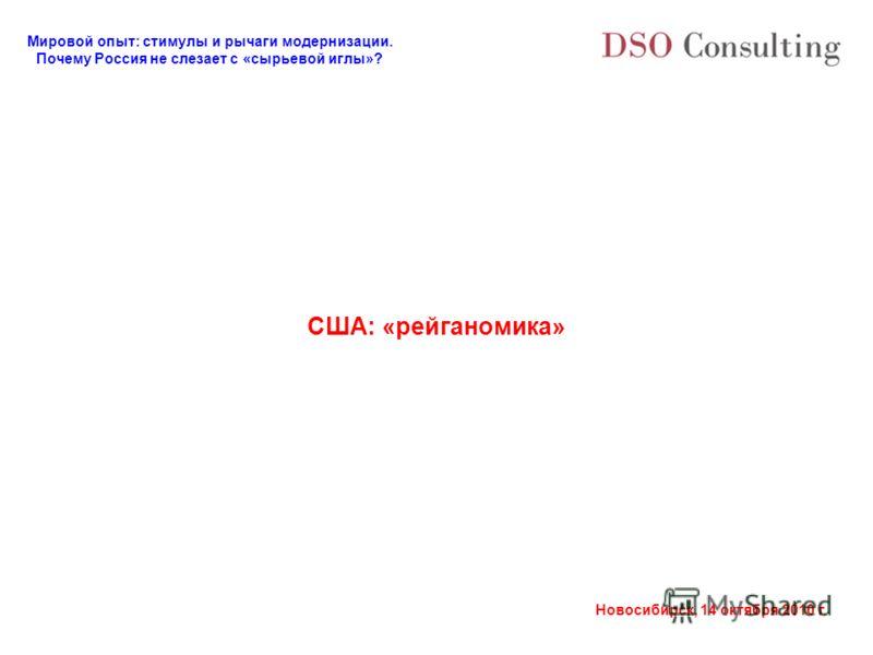 Мировой опыт: стимулы и рычаги модернизации. Почему Россия не слезает с «сырьевой иглы»? Новосибирск, 14 октября 2010 г. США: «рейганомика»