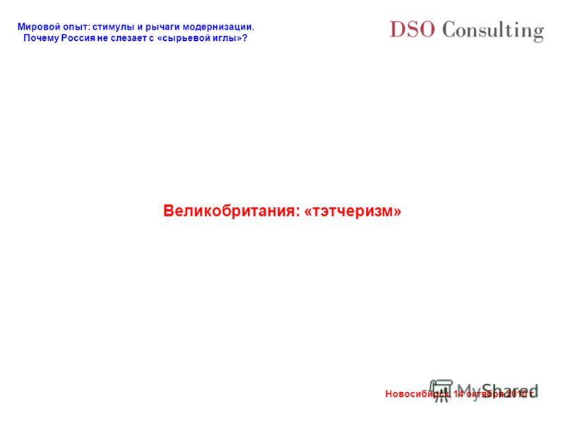 Мировой опыт: стимулы и рычаги модернизации. Почему Россия не слезает с «сырьевой иглы»? Новосибирск, 14 октября 2010 г. Великобритания: «тэтчеризм»