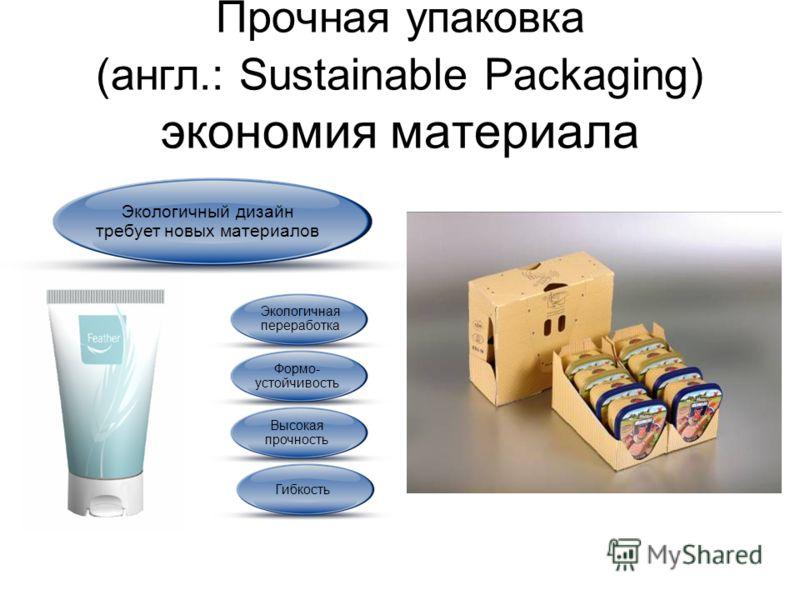 Прочная упаковка (англ.: Sustainable Packaging) экономия материала Экологичный дизайн требует новых материалов Экологичная переработка Гибкость Высокая прочность Формо- устойчивость
