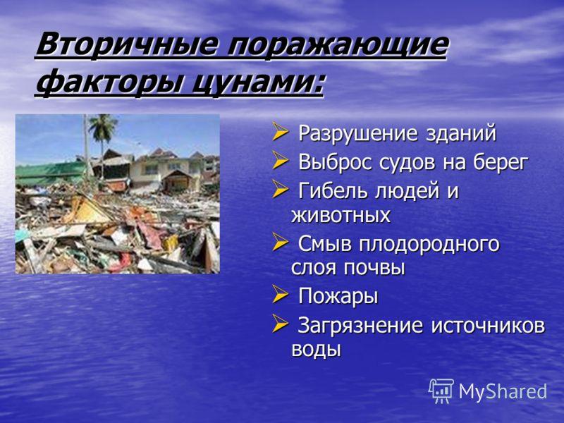 Первичные поражающие факторы цунами: Удар волны Удар волны Воздушная волна Воздушная волна Наводнение Наводнение Затопление Затопление Гидродинамическое Гидродинамическое давление потока воды