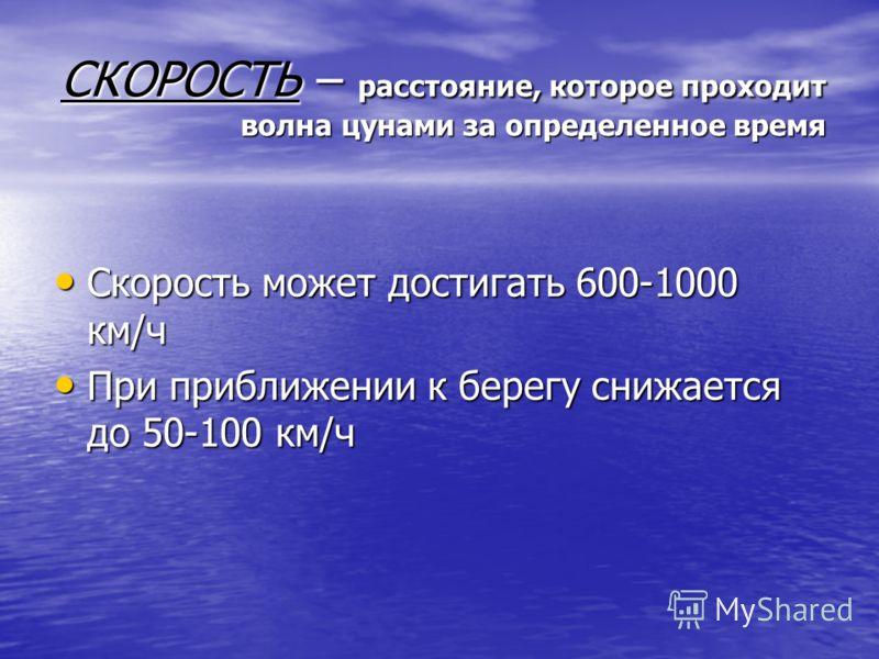 Характеристика цунами: Скорость волны Период волны Длина волны Высота волны