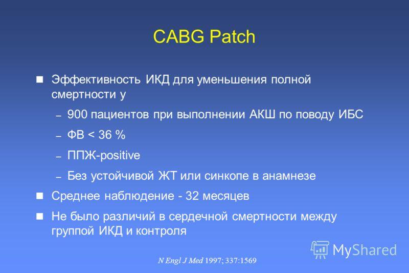 CABG Patch Эффективность ИКД для уменьшения полной смертности у – 900 пациентов при выполнении АКШ по поводу ИБС – ФВ < 36 % – ППЖ-positive – Без устойчивой ЖТ или синкопе в анамнезе Среднее наблюдение - 32 месяцев Не было различий в сердечной смертн