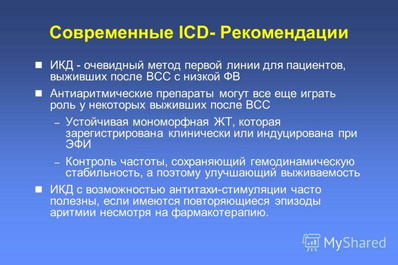 Современные ICD- Рекомендации ИКД - очевидный метод первой линии для пациентов, выживших после ВСС с низкой ФВ Антиаритмические препараты могут все еще играть роль у некоторых выживших после ВСС – Устойчивая мономорфная ЖТ, которая зарегистрирована к