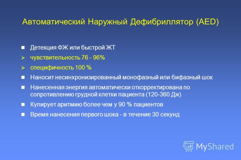Детекция ФЖ или быстрой ЖТ чувствительность 76 - 96% специфичность 100 % Наносит несинхронизированный монофазный или бифазный шок Нанесенная энергия автоматически откорректирована по сопротивлению грудной клетки пациента (120-360 Дж) Купирует аритмию
