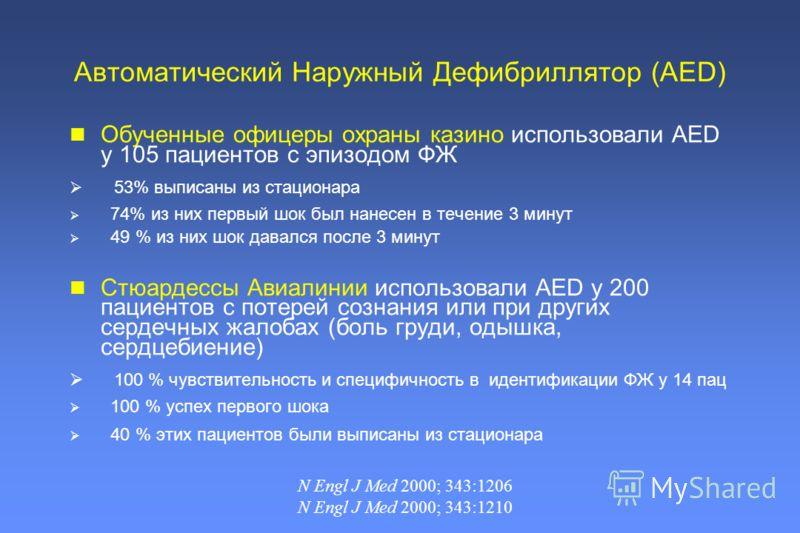 Обученные офицеры охраны казино использовали AED у 105 пациентов с эпизодом ФЖ 53% выписаны из стационара 74% из них первый шок был нанесен в течение 3 минут 49 % из них шок давался после 3 минут Стюардессы Авиалинии использовали AED у 200 пациентов