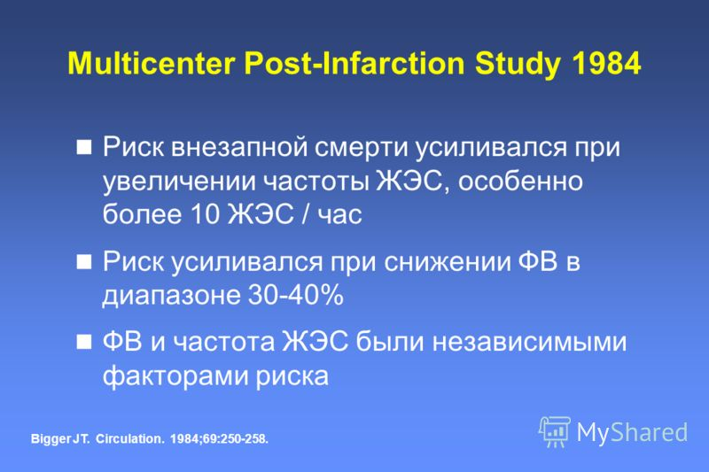 Multicenter Post-Infarction Study 1984 Риск внезапной смерти усиливался при увеличении частоты ЖЭС, особенно более 10 ЖЭС / час Риск усиливался при снижении ФВ в диапазоне 30-40% ФВ и частота ЖЭС были независимыми факторами риска Bigger JT. Circulati