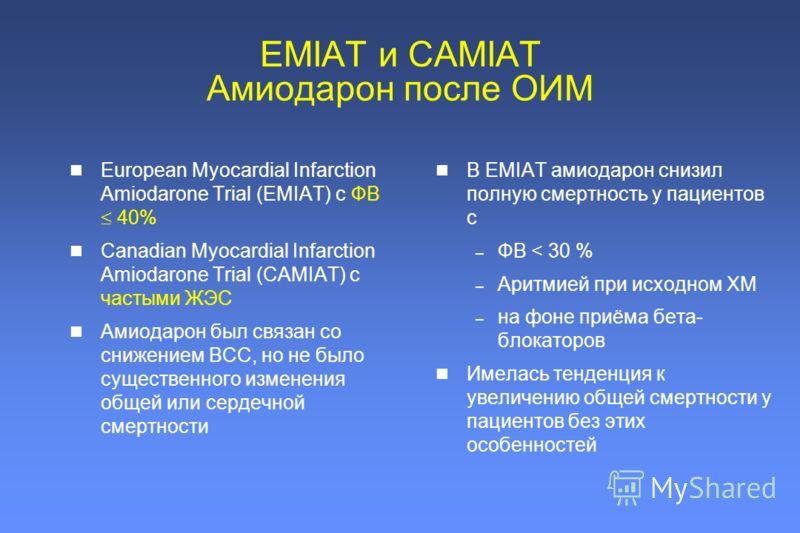 EMIAT и CAMIAT Амиодарон после ОИМ European Myocardial Infarction Amiodarone Trial (EMIAT) с ФВ 40% Canadian Myocardial Infarction Amiodarone Trial (CAMIAT) с частыми ЖЭС Амиодарон был связан со снижением ВСС, но не было существенного изменения общей